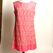 SALE Circa 1960s Pink Embroidered Floral Sheath Dress