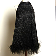 SALE Sparkly Feather-Hem Black Halter Dress