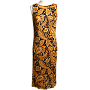 SALE Circa 1960s Black and Gold Paisley Silk Jersey Dress