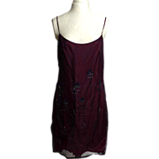 SALE Circa 1980s Shelli Segal Laundry Maroon Beaded Floral Dress