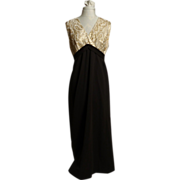 Circa 1960s Gold/Brown Paisley Cross-Heart Style Evening Gown