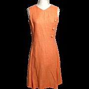 SALE Circa 1960s Alison Ayres Peach Linen Dress
