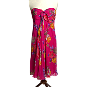 SALE Circa 1990s Lauren Pink Silk Floral Dress