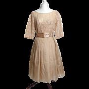Circa 1950s Elinor Gay Mocha Chiffon Taffeta Dress