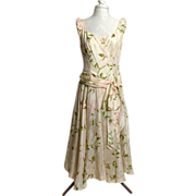 SALE Circa 1950s Lilli Russell Cream Silk Floral Dress