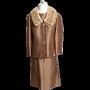 SALE Circa 1960s Raw Silk Three-piece Suit with Mink Collar Jacket