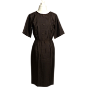 SALE Circa 1950s Norman Wiatt of California Brown Silk Dress