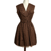 SALE Circa 1950s Holt Renfrew Chocolate Brown Silk Brocade Dress