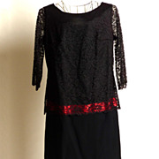 SALE Circa 1960s Black Silk Crepe Lace Dress with Pink Accent