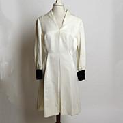 SALE Circa 1960s Mignon Dress with Black Velvet French Cuffs