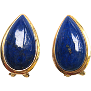 SALE 14K Yellow Gold Lapis Set: Necklace and Earrings