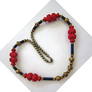 SALE Red, Blue and Gold Wood and Plastic Tribal Necklace