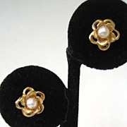 Unsigned Goldtone Faux Pearl Earrings