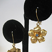 Sterling Silver Vermeil Sapphire Floral Earrings