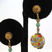Unsigned Venetian Glass Disc Earrings