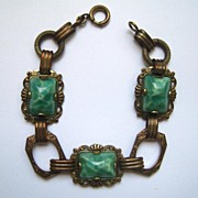 Unsigned Brass and Green Glass Cabochon Bracelet
