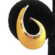 Bernard Meldah Sterling Silver Gilt Wash Yellow Enamel Norwegian Earrings