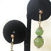 Unsigned Green and Gold Colored Glass Ball Drop Earrings
