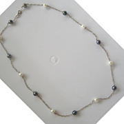 Sterling Silver Black and White Pearl Choker/Necklace