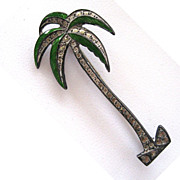 Sterling Silver, Marcasite and Enamel Palm Tree Brooch/Pin