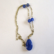 SALE Art Deco 14K Yellow Gold Blue Chalcedony Necklace