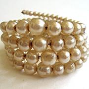 Quadruple-strand Wired Faux Pearl Bracelet