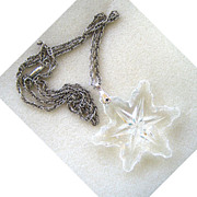 Glass Snowflake Pendant on Silvertone Rope Chain