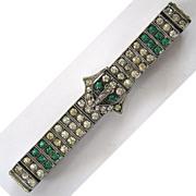 Art Deco Diamonbar Sterling Silver Clear and Green Rhinestone Buckle Bracelet