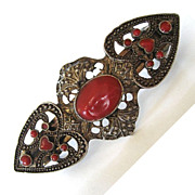 Silver Tone and Rust-Toned Enamel Heart Barrette