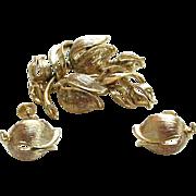 Lisner Goldtone Tulip Demi-Parure:Brooch/Pin and Earrings