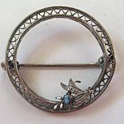 SALE Filigree Enamel Circular Floral Brooch/Pin