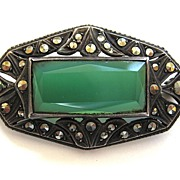 SALE 935 Silver Green Onyx Marcasite Brooch/Pin