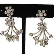 SALE Silver-Tone Rhinestone Floral Flare Earrings