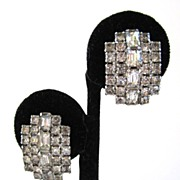 SALE Kramer Curved Rhinestone Sparkling Clip-back Earrings