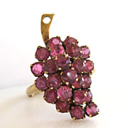 SALE 14K Yellow Gold Ruby Grapes Ring
