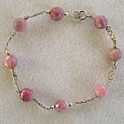 SALE Sterling Silver Rose Quartz Bead Bracelet