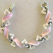 SALE Lisner Pink and White Thermoset Plastic Enamel Bracelet