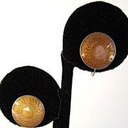 SALE Sterling Gold Guilloche Enamel Disc Earrings