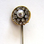 SALE Unsigned Miriam Haskell  Faux Pearl and Rhinestone Stick Pin