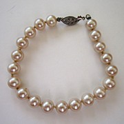 SALE Faux Pearl and Silver Tone Filigree Bracelet