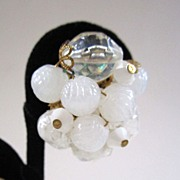 SALE German-Made Frosted White Cluster Bead Earrings