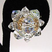 SALE Crystal Bead Filigree Earrings
