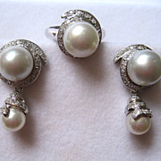 SALE Mid 20th Century 18K White Gold Cultured Pearl and Diamond Earrings and Ring Set ...