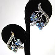 SALE Coro Aurora Borealis Floral Spray Earrings