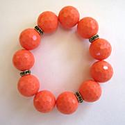 SALE Large Orange Plastic Bead and Rhinestone Stretch Bracelet