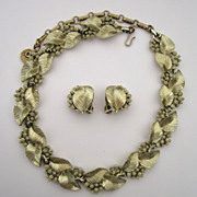SALE Lisner Gold-tone Leaf Demi-Parure: Choker/Earrings