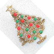 SALE Coral and Green Gold-Tone Christmas Tree Brooch/Pin