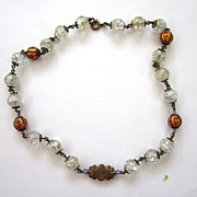 SALE Circa 1900 Gilt Crackled Crystal and Enameled Bead Necklace