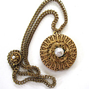 SALE Miriam Haskell Gold-Tone Faux Baroque Pearl Round Locket