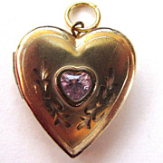 SALE 1/20 14K Gold-Filled Pink Stone Locket